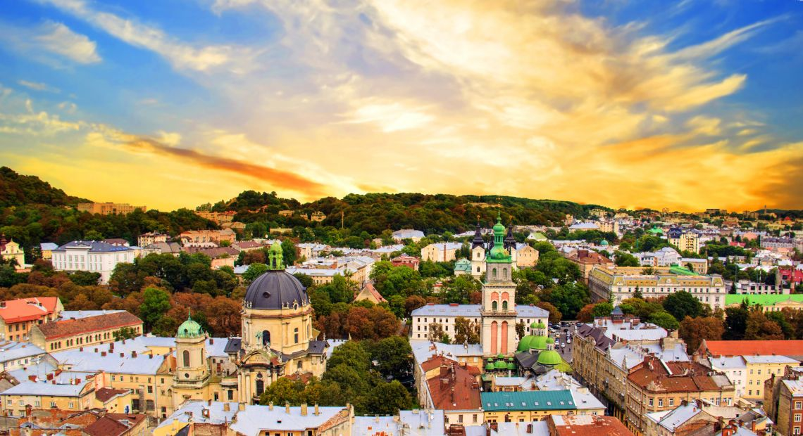 panoramic view over city of lviv