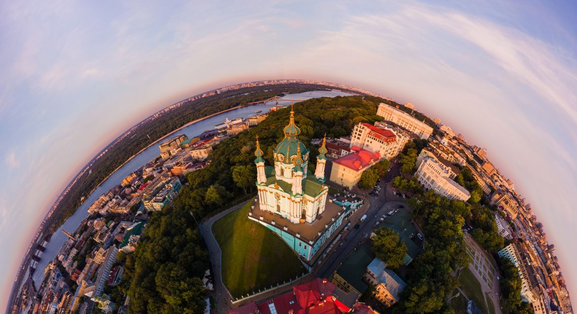 Aerial 360 view of Podil in Kyiv
