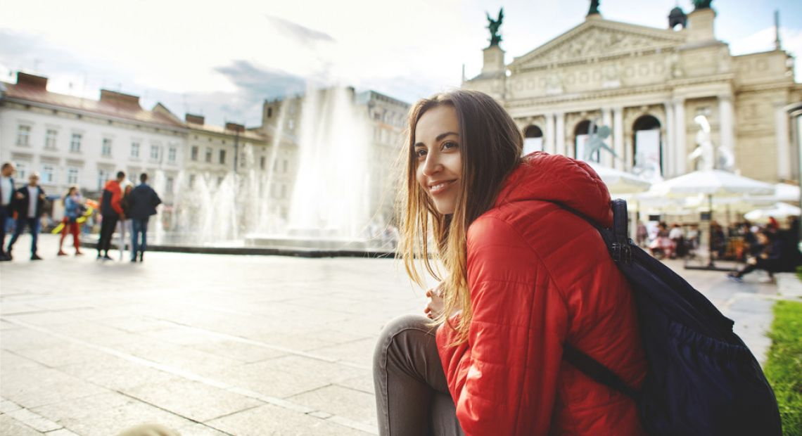 female tourist in lviv