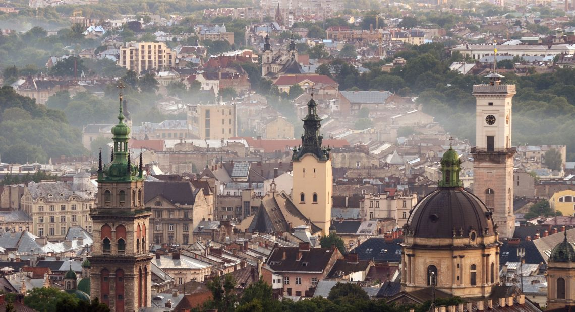 Lviv panorama in autumn fog