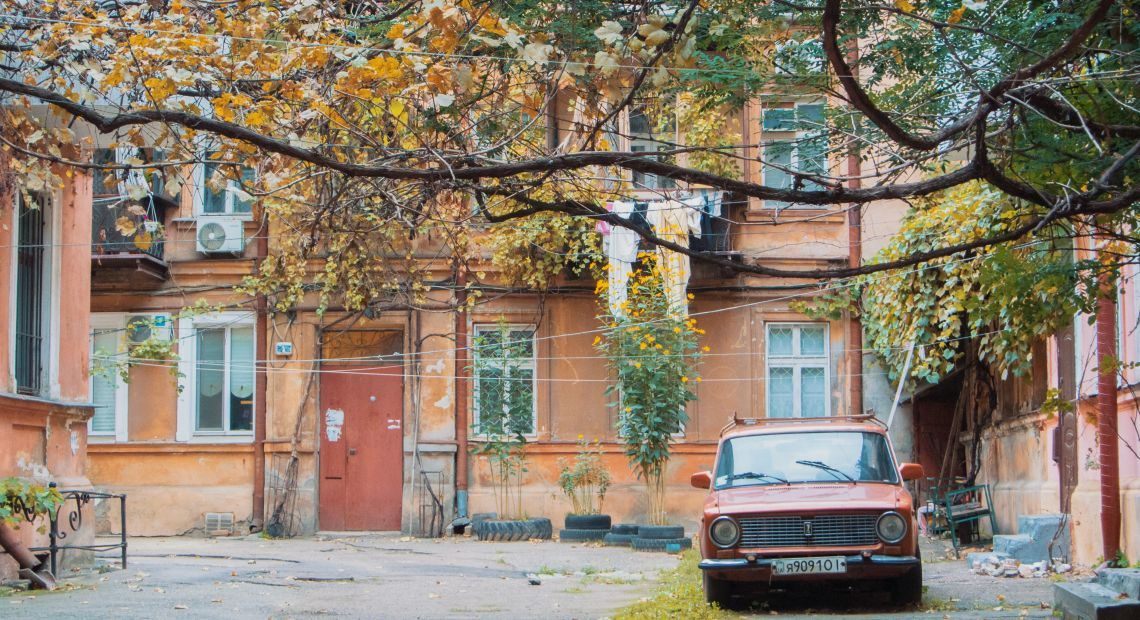 Old car in a typical Odesa courtyard