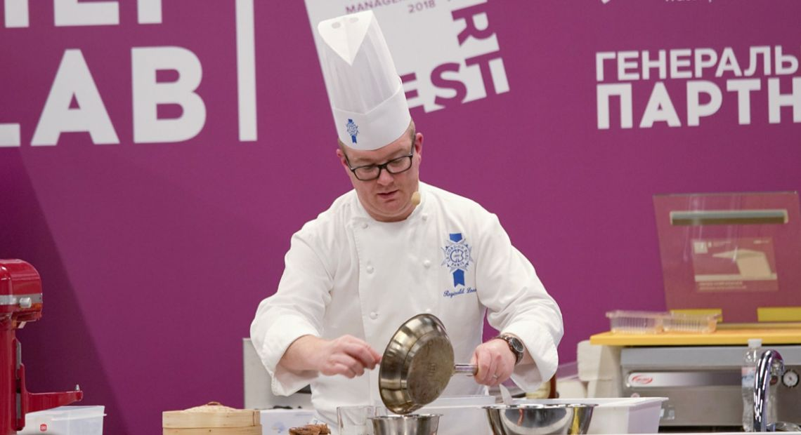 Chef Reginald Ioos works at the Kyiv RestArt 2018 Festival