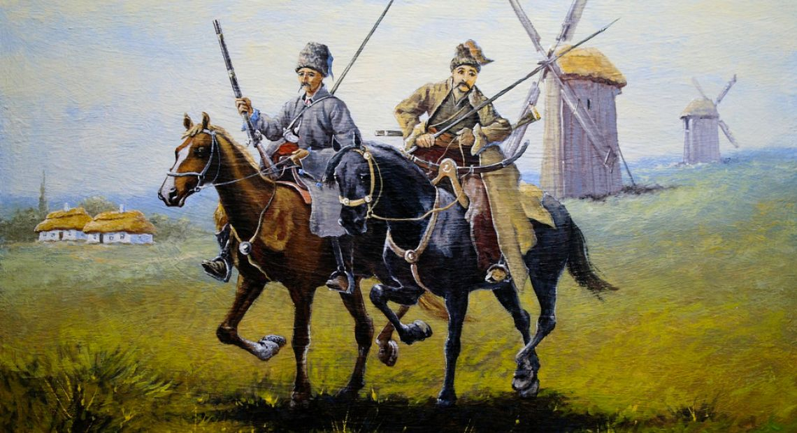 painting of two ukrainian cossacks on horses