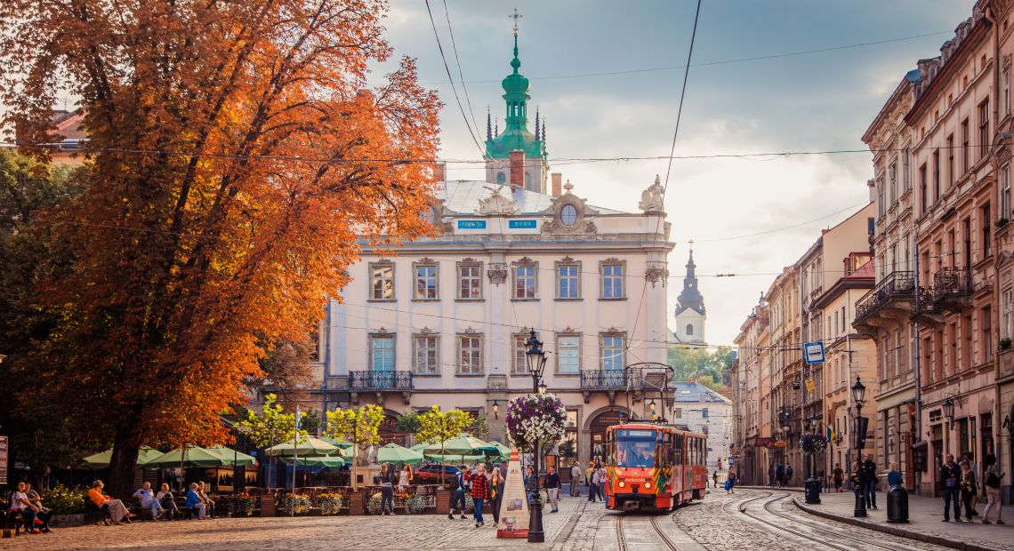 Lviv street with a tram in autumn