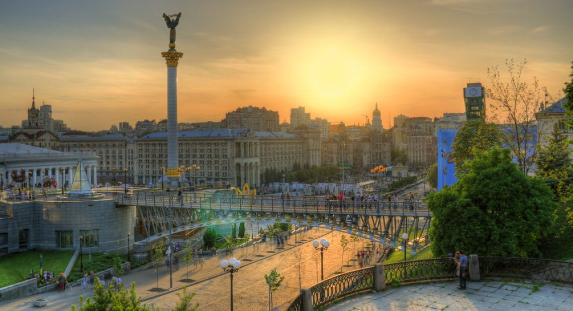 Vista of Maidan square in Kyiv