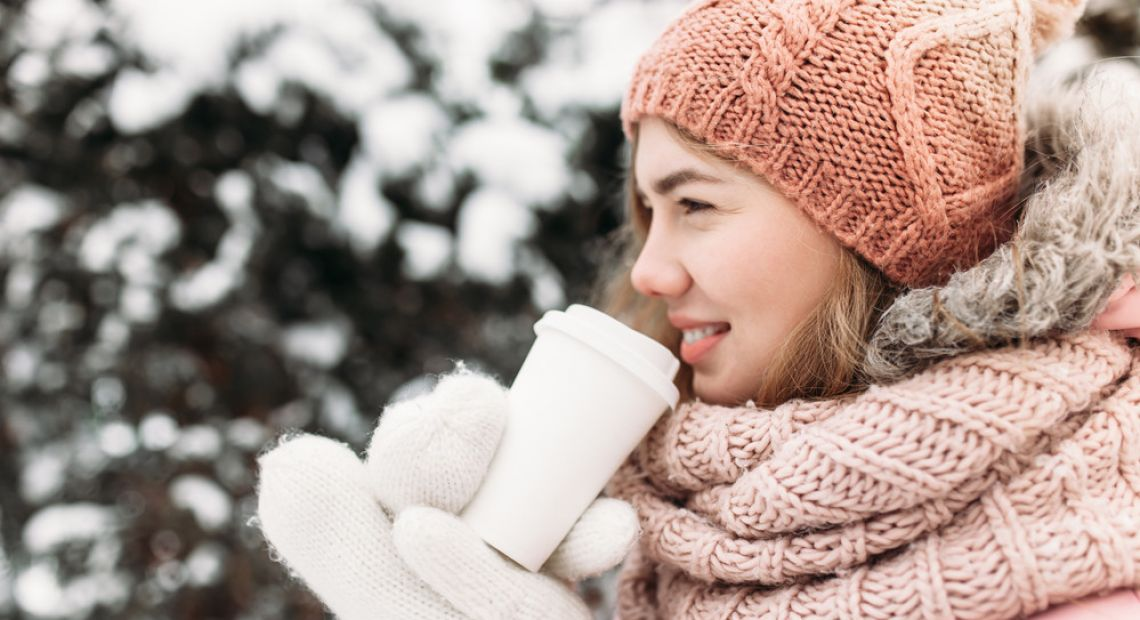Girl in a beanie and warm scarf