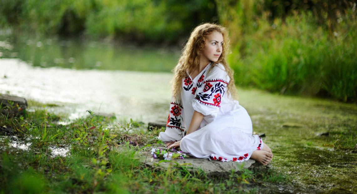 Girl in Ukrainian embroidered dress