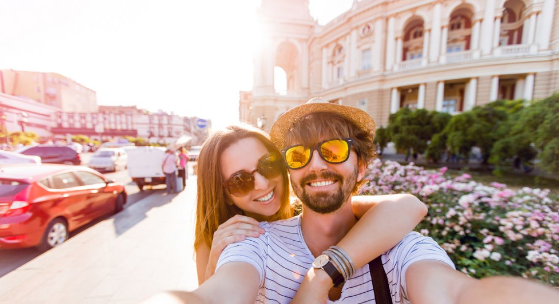 young couple making selfie in Odesa