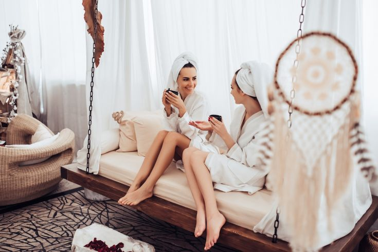 Two women chilling in a stylish spa
