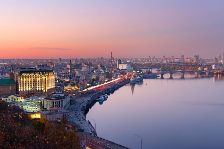 Kyiv night panorama