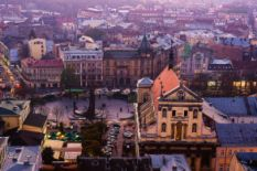 panoramic view over lviv