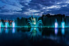 fountains with lights in evening