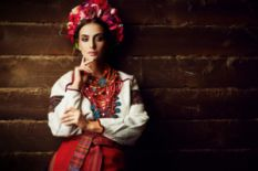 woman in national Ukrainian clothes