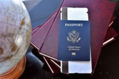 American passport and globe