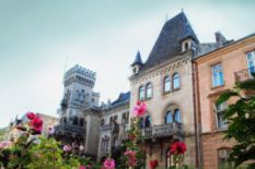 beautiful old houses with towers and garden with rose flowers