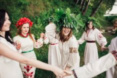 girls in national clothes celebrating ivana kupala