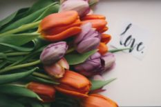 Tulip bouquet with a love note