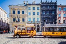 Trams and beautiful houses in Lviv