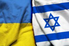 Flags of Ukraine and Israel