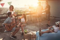 People having a party on a rooftop