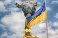 Ukrainian Flag and Statue
