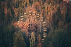 ferris wheel in chornobyl in fall