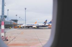 Ryanair airplane docked at the airport