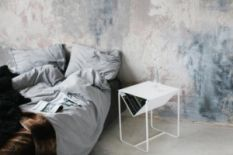 bed and white table