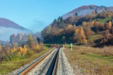 Railway leading to the Carpathian mountains