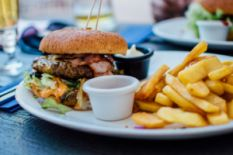 Burger and french fries on a plate