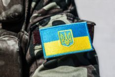 Ukrainian flag on military uniform