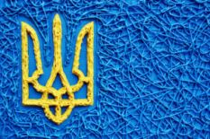 painting of ukrainian trident symbol