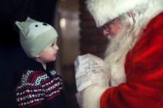 santa claus and little boy