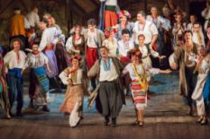 many people dancing on scene in traditional ukrainian costumes