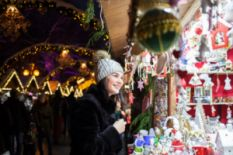Girl visiting Christmas market