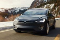 Tesla Model X in the mountains