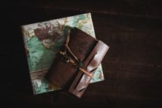 Map and a travel journal