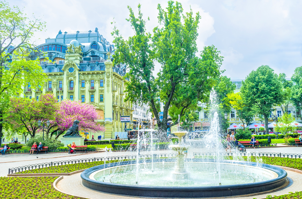 Trees and fountain in Odesa city garden