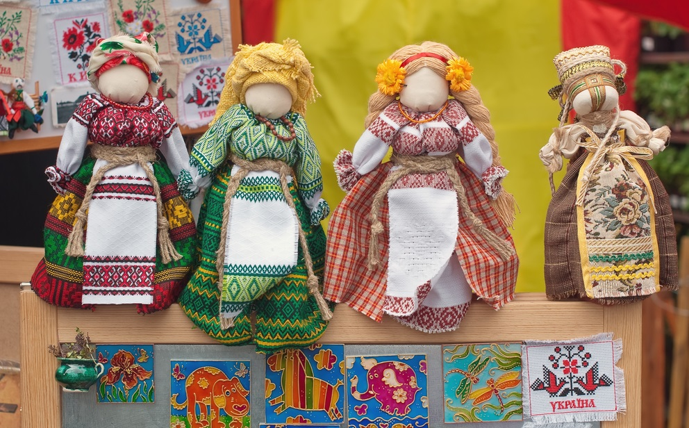 Motanka dolls on the table