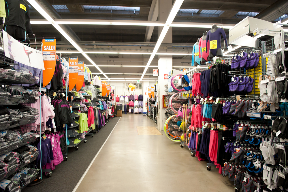shop with sports equipment and clothes