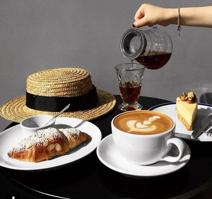 coffee, mcakes and straw hat
