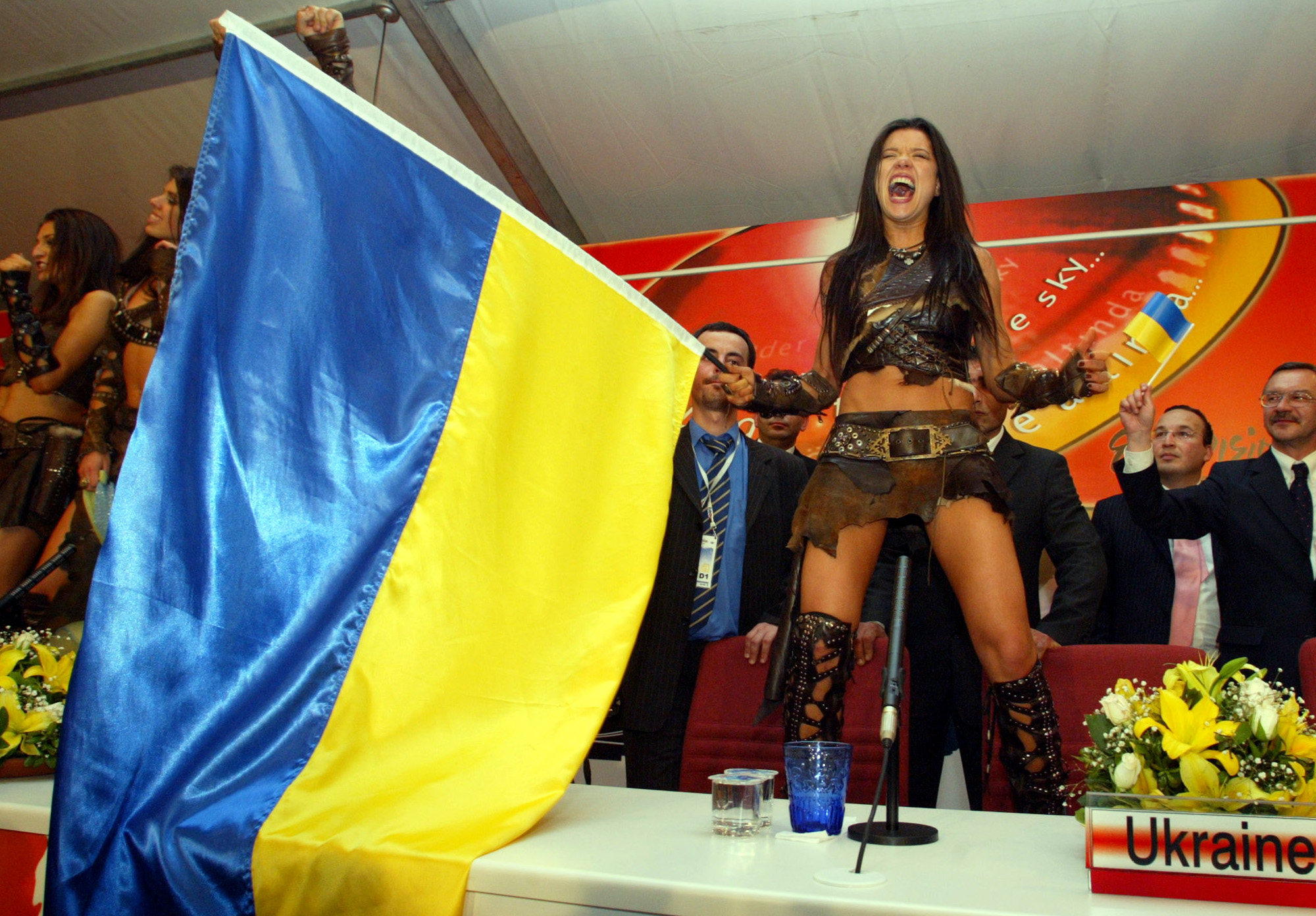 Ruslana with Ukrainian Flag
