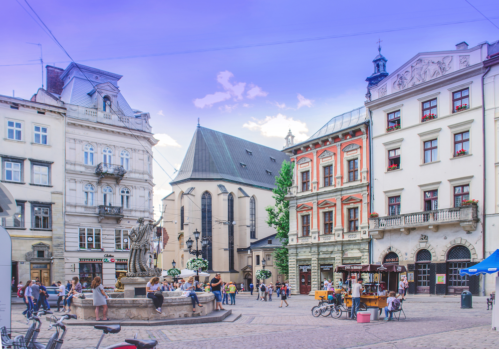 people on rynok square in lviv