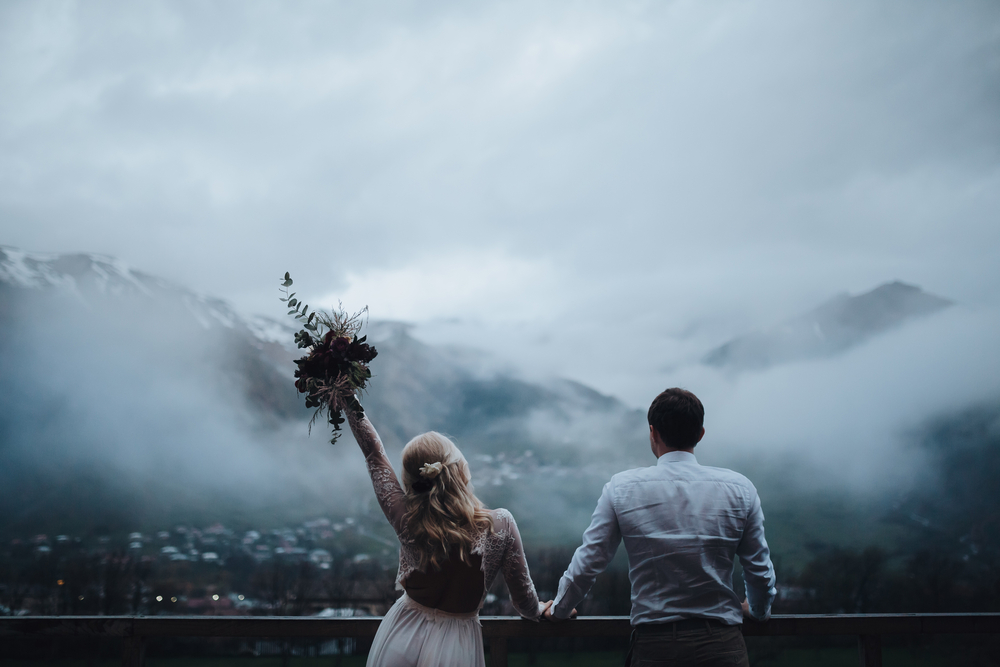Couple getting married in the mountains