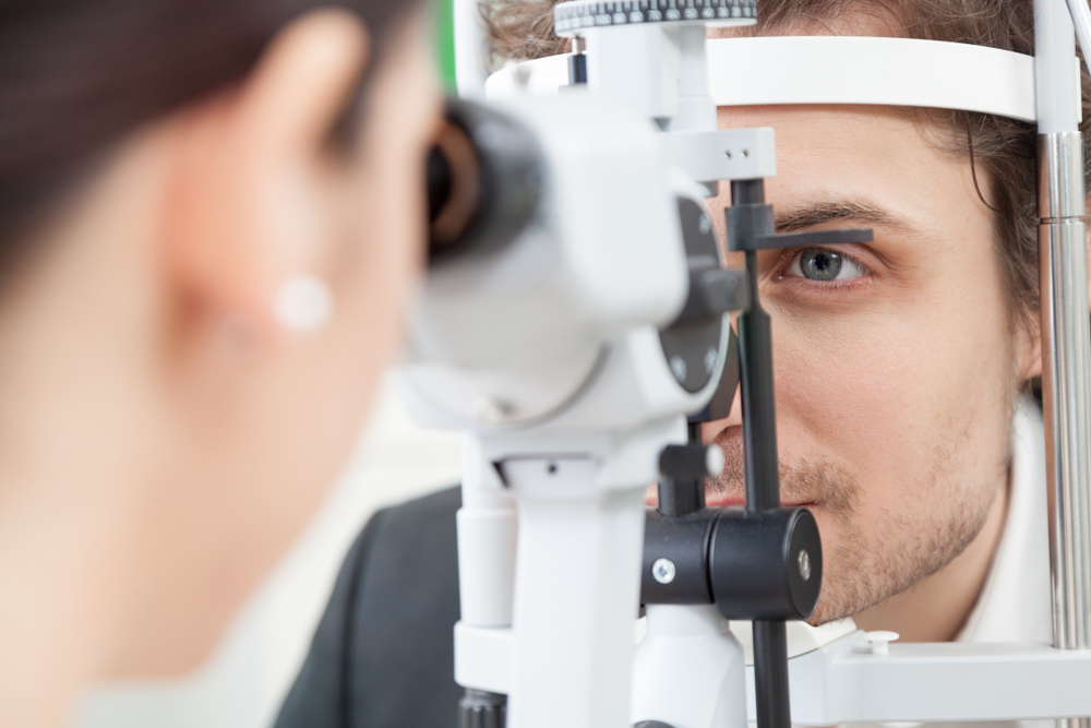 Doctor checking vision