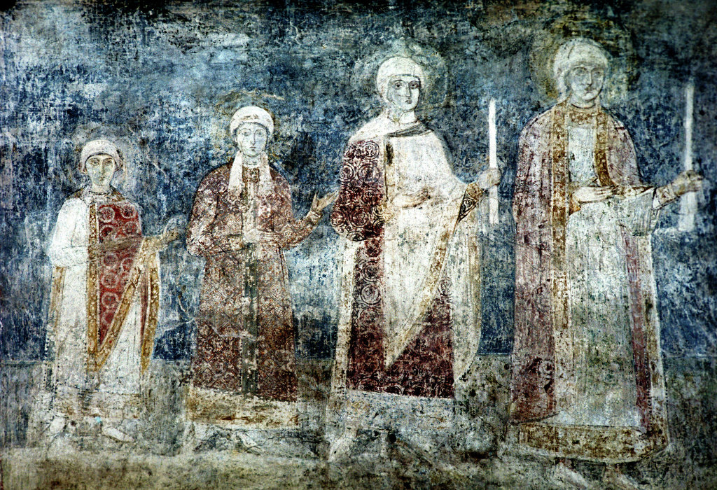 fresco of 3 people
