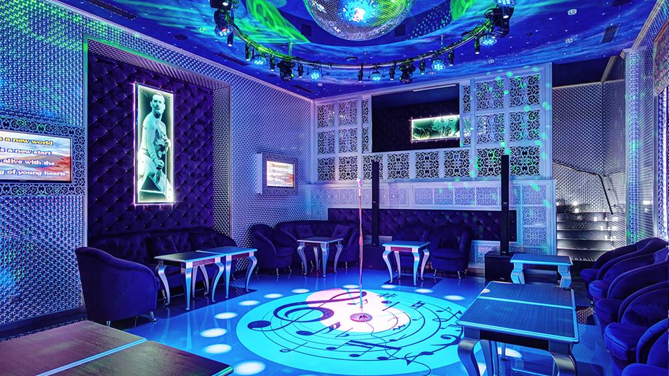 gorgeous club interior in violet colors