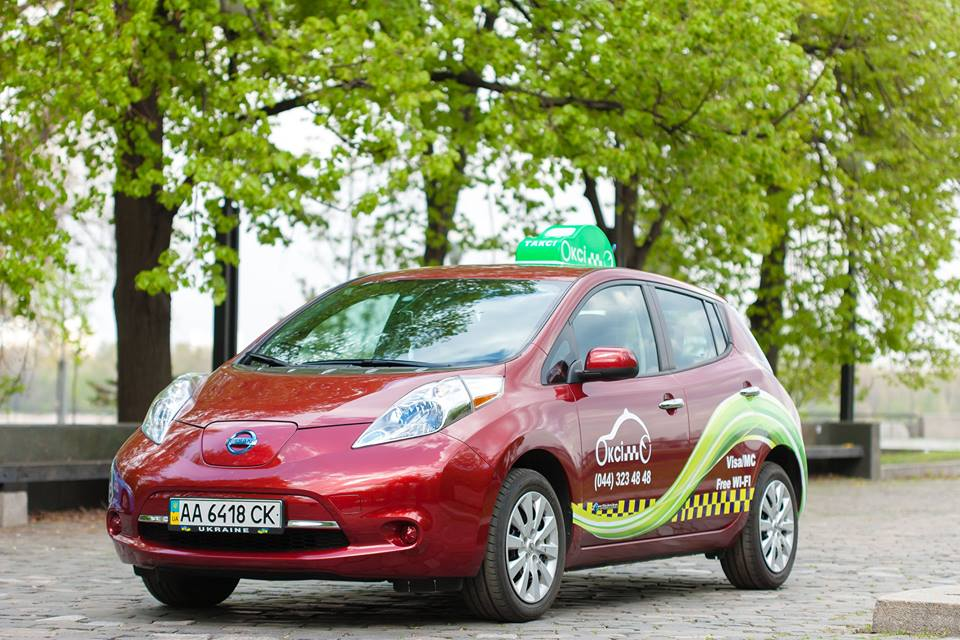 Green electric cars in Oxy-Taxi service in Kiev