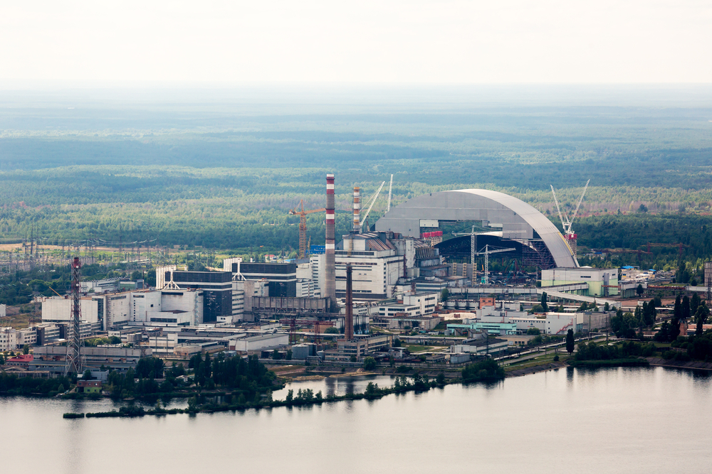 view over Chornobyl nuclear plant