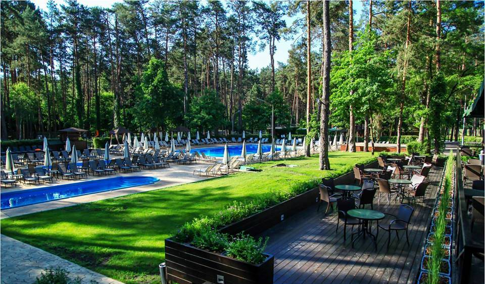 two swimming pools in SPA complex in forest